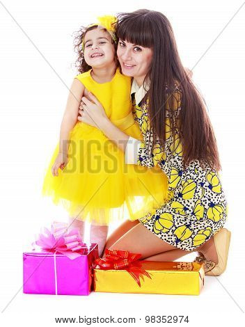 Mom with daughter and gifts