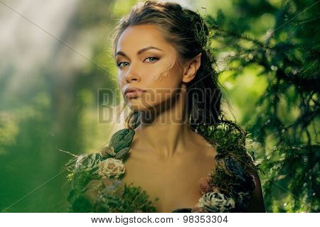 Elf woman in a magical forest