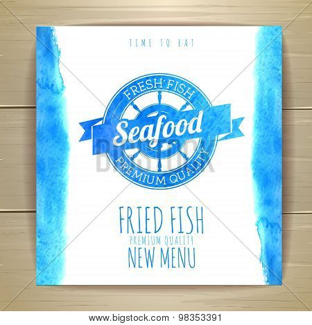 Seafood Menu Design With Fish. Document Template