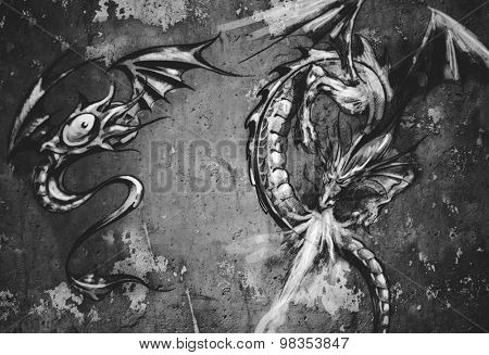 Tattoo art illustration, dragons over grey wall