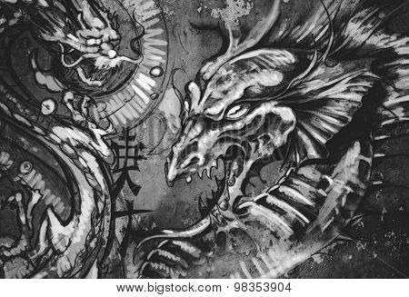 Dragons, tattoo illustration over grey wall