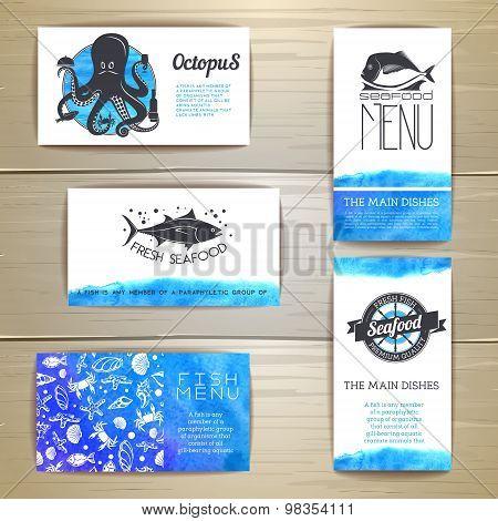 Set Of Seafood Menu Cards. Corporate Identity. Document Template