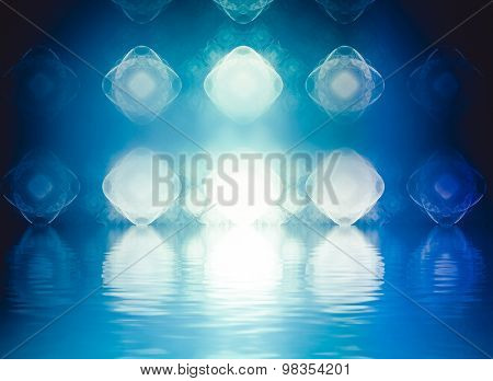 Abstract landscape of colorful fractal foam, light trails and lights suitable as a backdrop for art, music, fantasy and imagination related projects  with water reflection