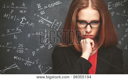 Girl Student, The Teacher Writes On  Blackboard Chalk Formula