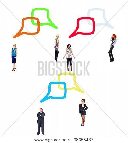 Conversations in a Company Standing and Talking