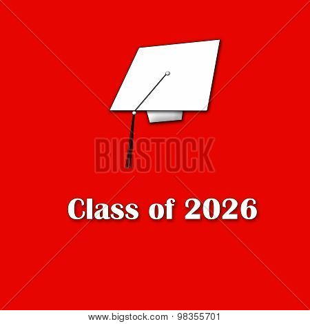 Class of 2026 White on Red Single Large