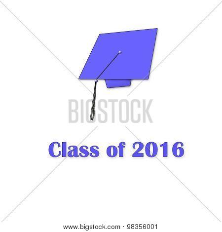 Class of 2016 Purple on White Single Large