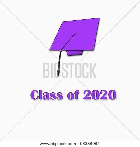 Class of 2020 Purple on White Single Large