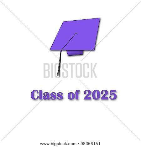 Class of 2025 Purple on White Single Large