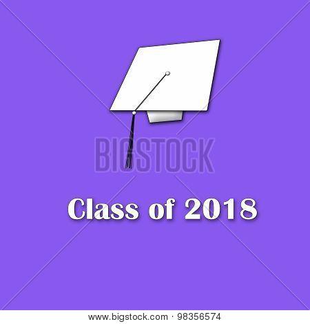 Class of 2018 White on Purple Single Large