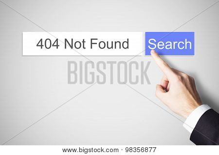 Finger Pushing Web Search Button 404 Not Found Error