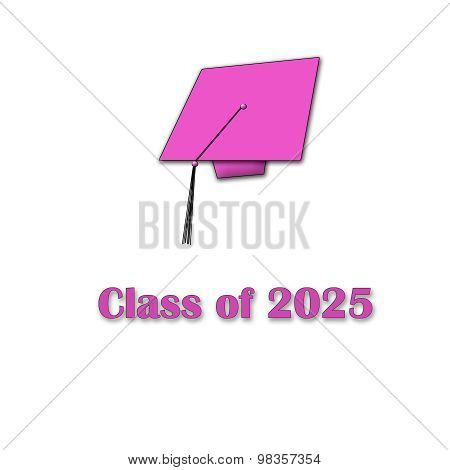 Class of 2025 Pink on White Single Large