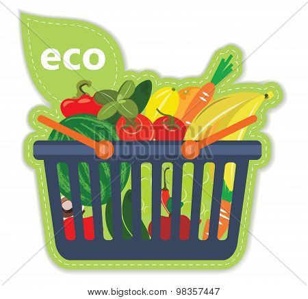 Cart beneficial eco supermarket fresh food fruit and vegetables products in basket