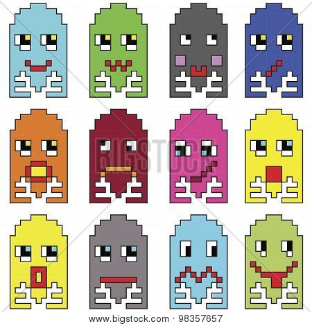 Pixelated  emoticons 2 inspired  by 90's vintage video computer  games showing vary emotions with st