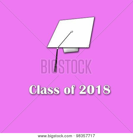 Class of 2018 White on Pink Single Lg