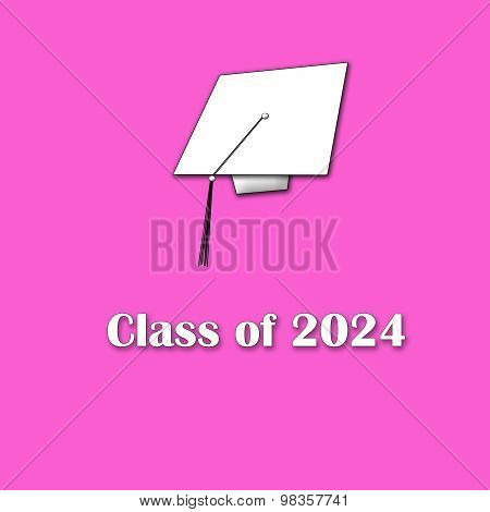 Class of 2024 White on Pink Single Lg