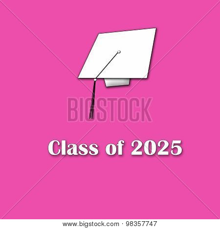 Class of 2025 White on Pink Single Lg