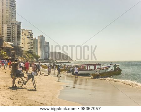 Crowded Beach El Rodadero Colombia