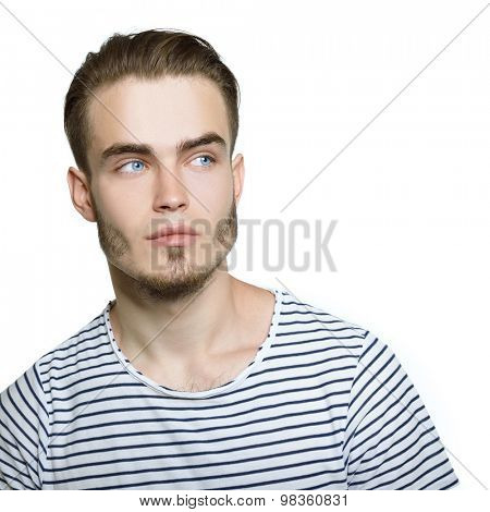Portrait of attractive young man over white background.