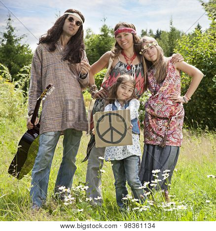 Hippie Family With