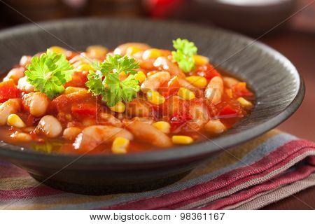 mexican veggie chilli in plate