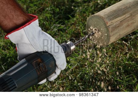 Wood Drill And Glove