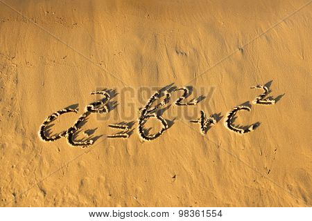 Quadratic Equation Handwriting On The Sand.