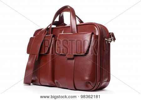 Shiny Leather  Brown  Briefcase With Pockets