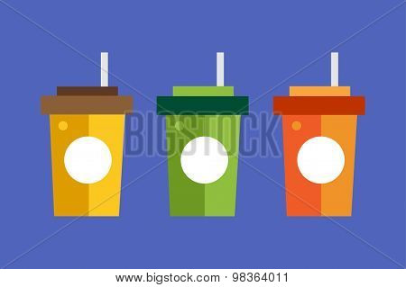 Fast food drinks pack set. Fruit drink logo icon template. Fresh, juice, coke, drink, yellow, splash, vegetarian, cold. Stock vector