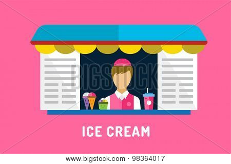 Ice cream fast food objects set. Milk product, vanilla symbol, auto transport, mobile food shop, mobile restaurant, fast food, kids dessert, icecream shop. Design elements. Isolated on pink