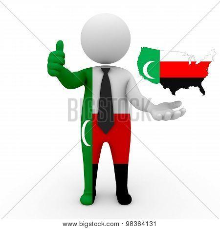 3d people Meskhetian Turks - map flag of USA-Meskhetian Turks. USA in Meskhetian Turks