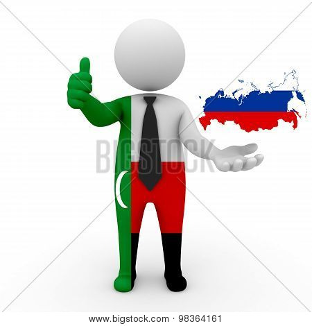 3d people Meskhetian Turks - map flag of Russia. Meskhetian Turks in Russia