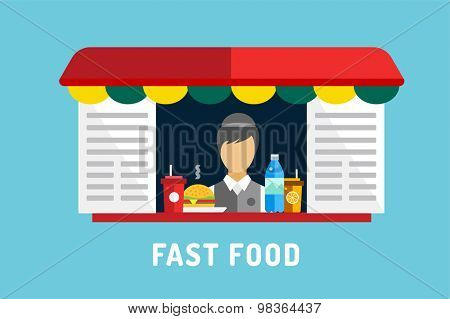 Fast food vector objects set. Water bottle, juice, eat, ice cream, hamburger, hot dogs, mobile food or restaurant, fast food, lunch time. Design elements