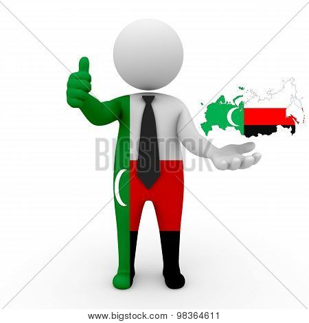 3d people Meskhetian Turks - map flag of Russia-Meskhetian Turks. Meskhetian Turks in Russia