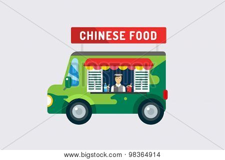 Chinese fast food objects objects set. Meat product, car, mobile, man, noodles, water, china, noodles, mobile restaurant, fast food, lunch time. Design elements.