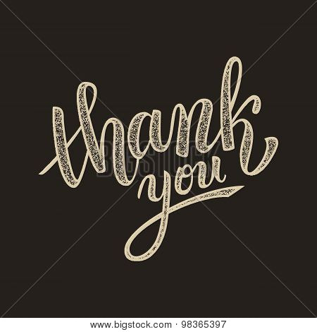 Thank You Handwritten Vector Illustration, Brush Pen Lettering On Dark Background