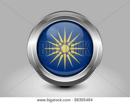 Flag Of Macedonia. Metal Round Icon