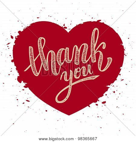 Thank You Handwritten Vector Illustration, Brush Pen Lettering On Red Heart Background