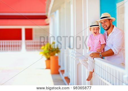 Portrait Of Happy Family On Caribbean Vacation