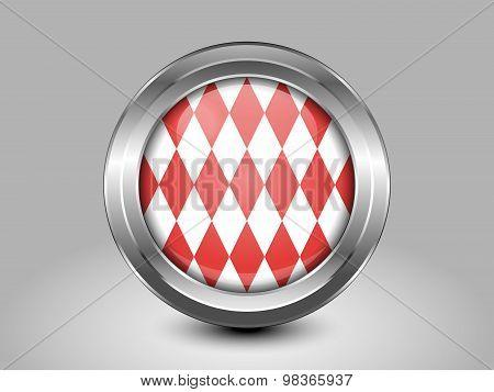 Flag Of Monaco. Metal Round Icon