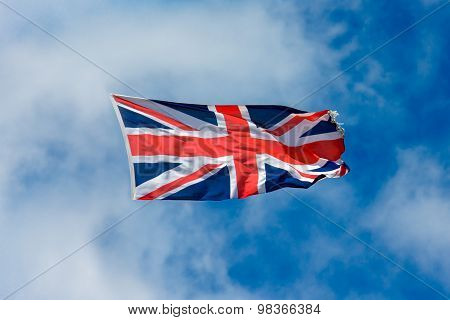 The Old British flag flying, waving in the air
