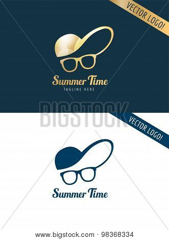 Face with glasses and cap logo icon template. Hipster, summer, man head or travel, young, beauty fas
