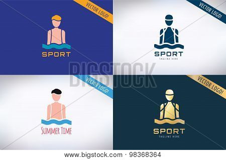 Swim sport logo icon template. Pool, swimmer, man symbol or water, athlete, swimming club. Design el