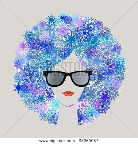 Woman with snowflake Afro hairdo winter season