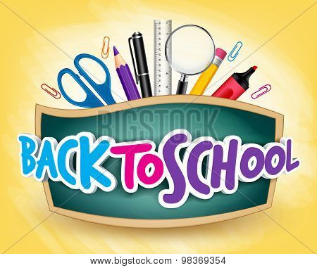 3D Realistic Back to School Title Poster Design in a Blackboard