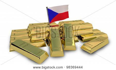 Czech economy concept with gold bullion