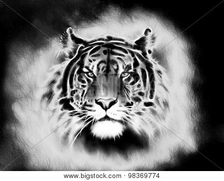painting of a bright mighty tiger head on a soft toned abstract background eye contact. Black and wh