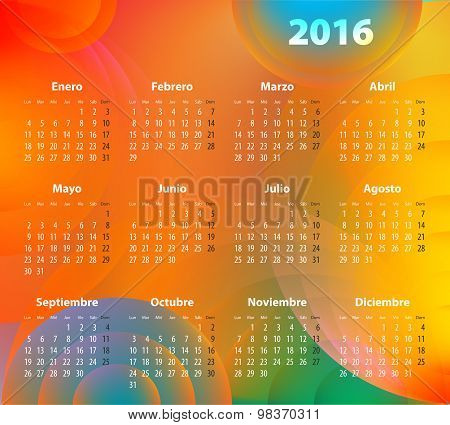 Spanish Calendar For 2016 On Abstract Circles