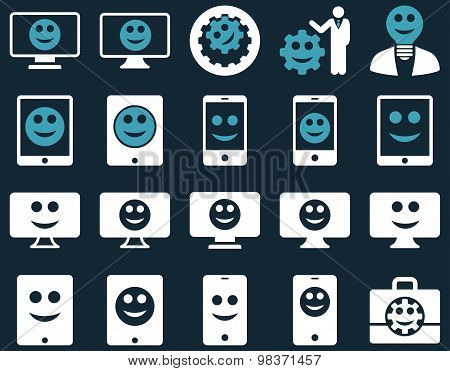 Tools, options, smiles, displays, devices icons