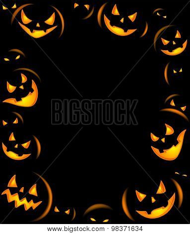Frame of Grinning Halloween lanterns for banners or invite cards